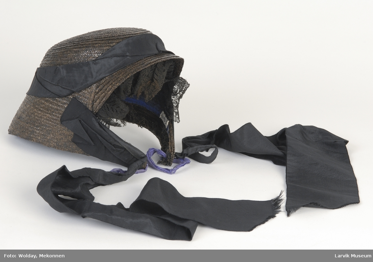 Form: dekker bakhodet,svakt oppestående skygge med