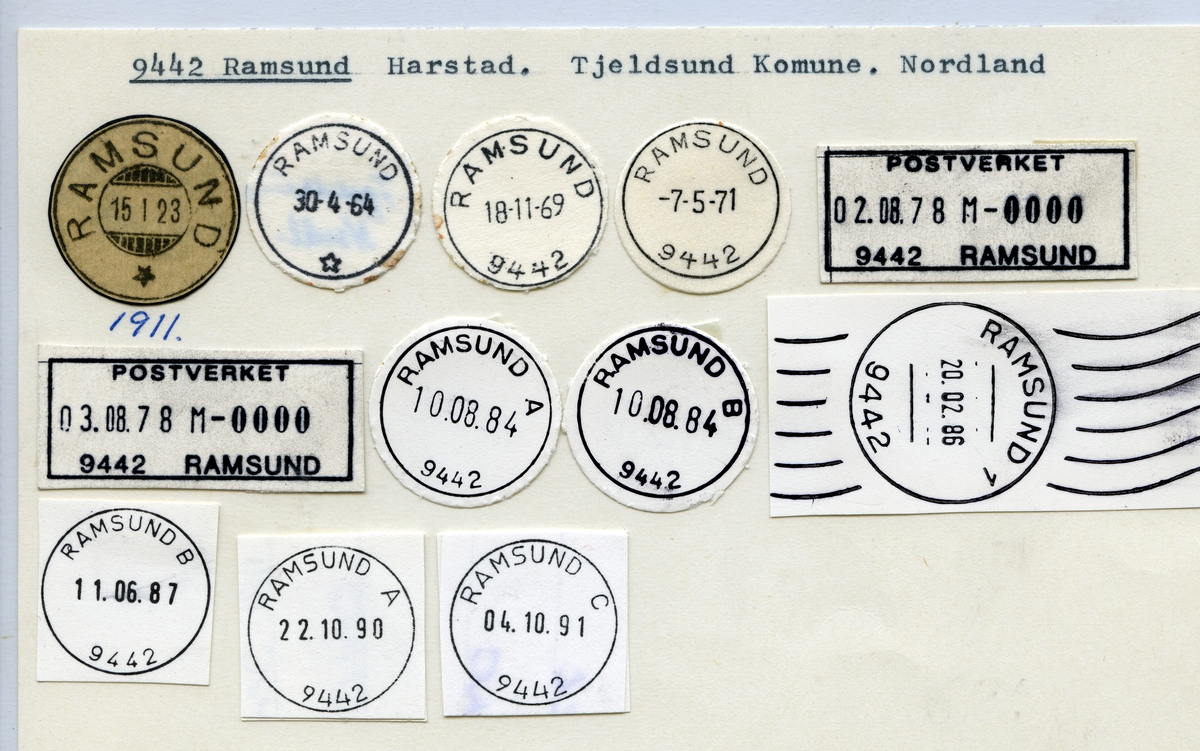 Stempelkatalog 9442 Ramsund, Harstad, Tjeldsund, Nordland