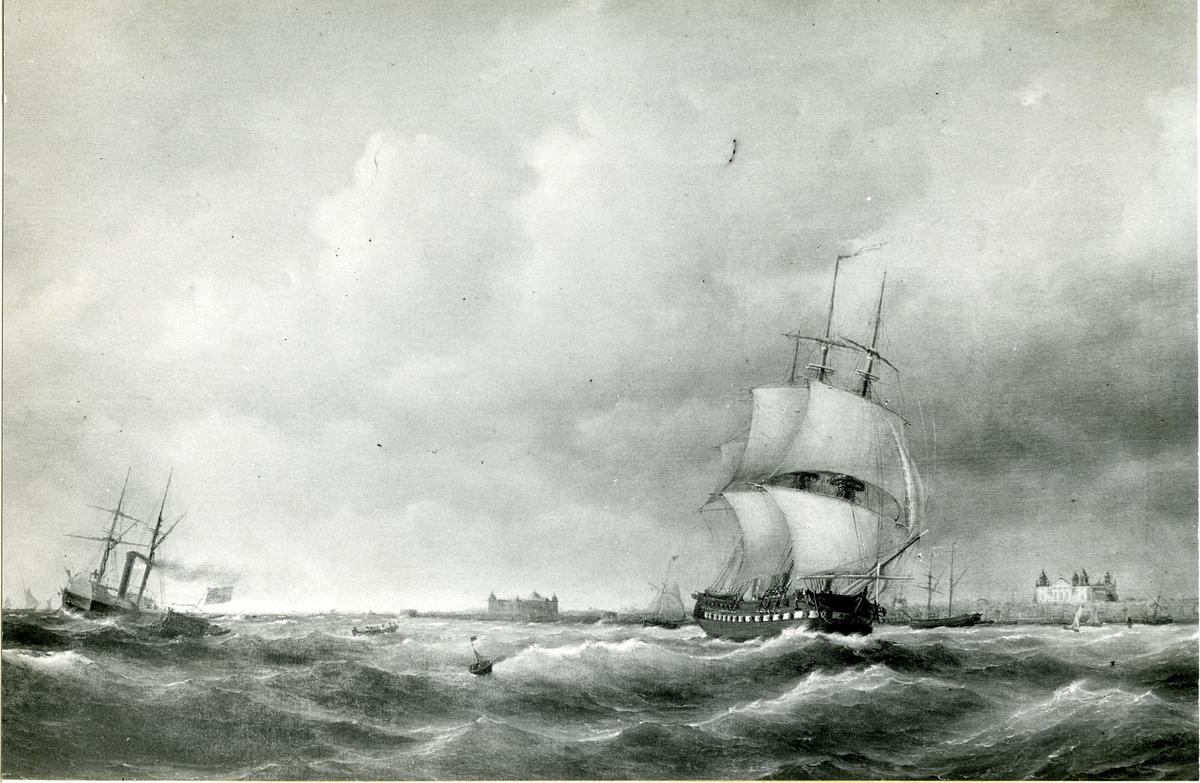 Korvetten Norrköping i Kalmarsund. Oljemålning 1850. Storlek 104 x 166 cm.