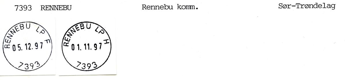 Stempelkatalog 73393 Rennebu, Oppdal, Rennebu, Sør-Trøndelag