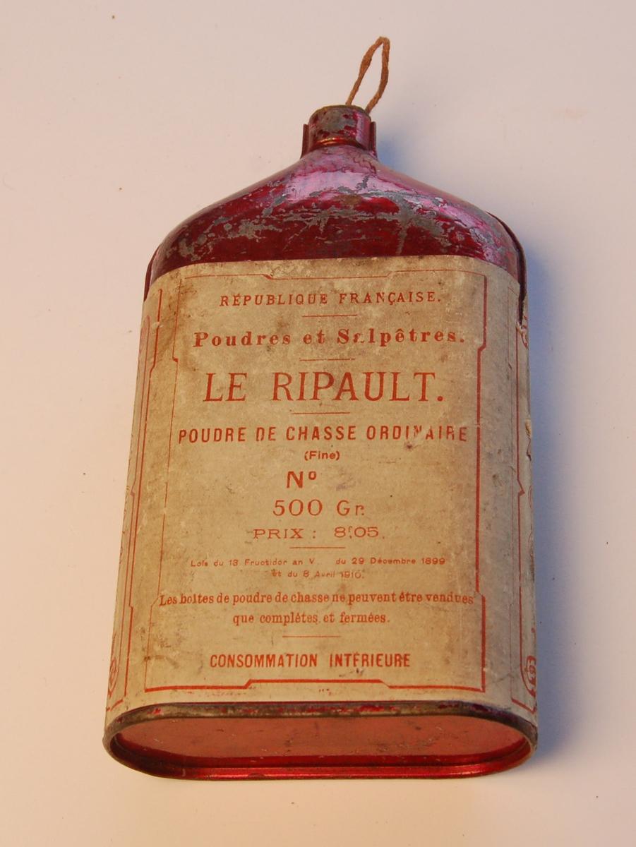 Oval blekkflaske til oppbevaring av lauskrutt.