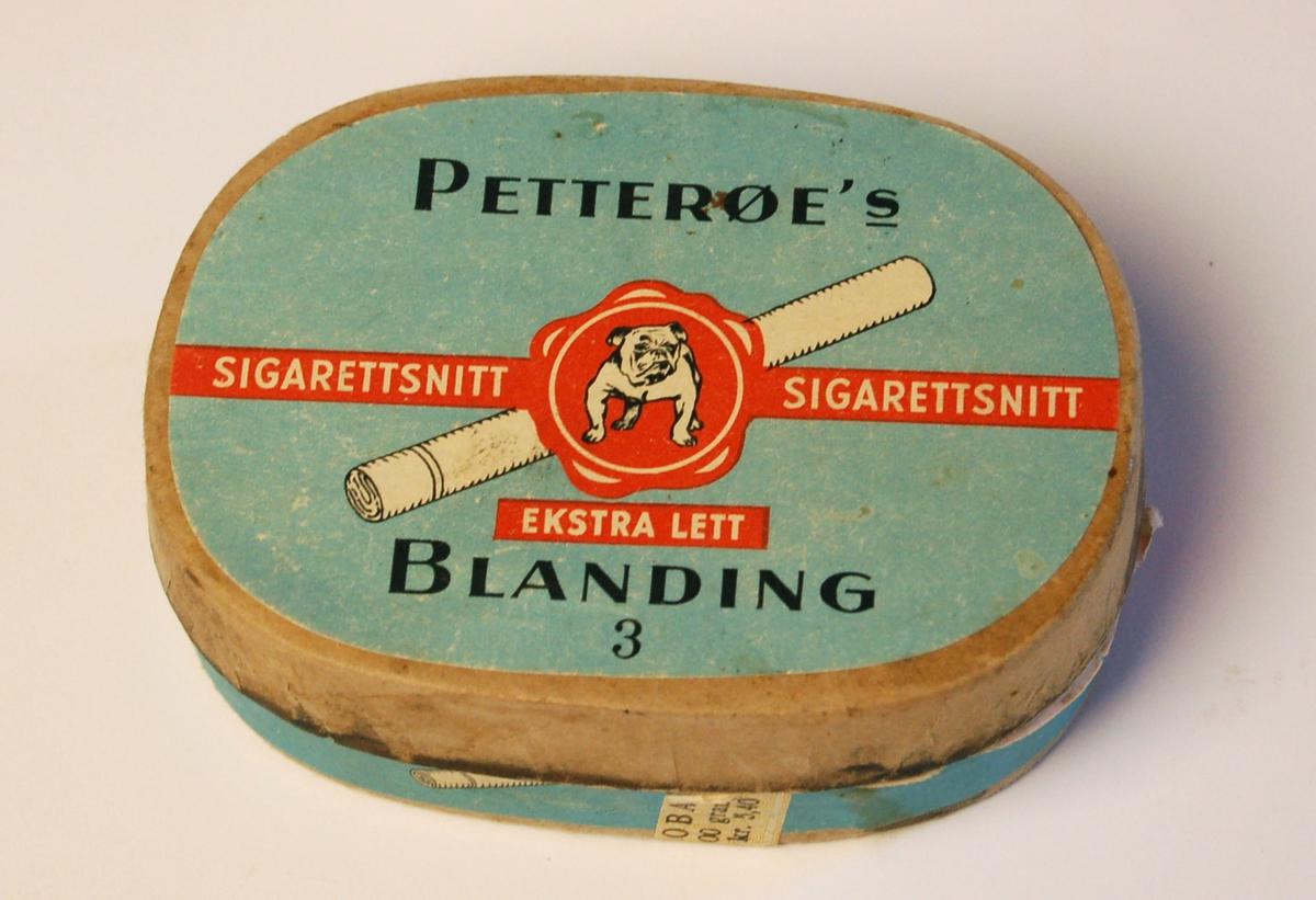 Oval vokset pappeske med lokk til tobakk