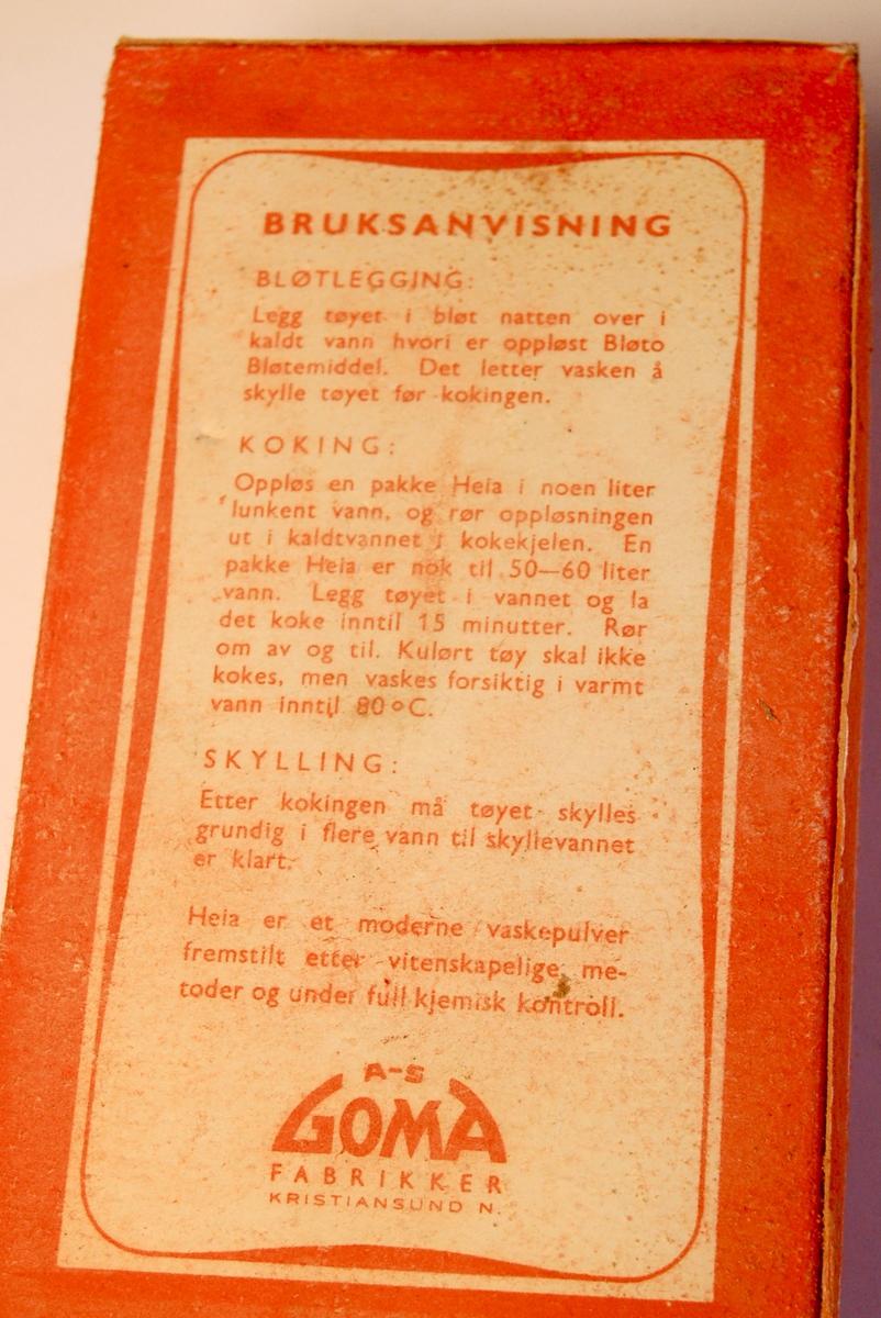 Pakken inneholder eit universalvaskepulver som egner seg til bløtlegging, koking og skylling av tøy.