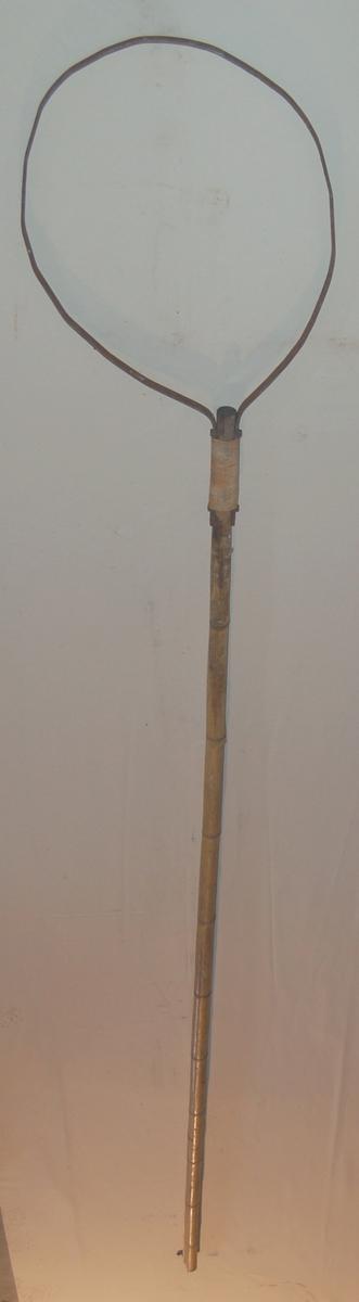 Bøyletroda er en lang kraftig bambusstang, som det er festet en rund bøyle av flattjern ut på enden av troda.