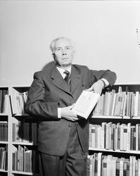 interiør, mann, forfatter, bokhylle