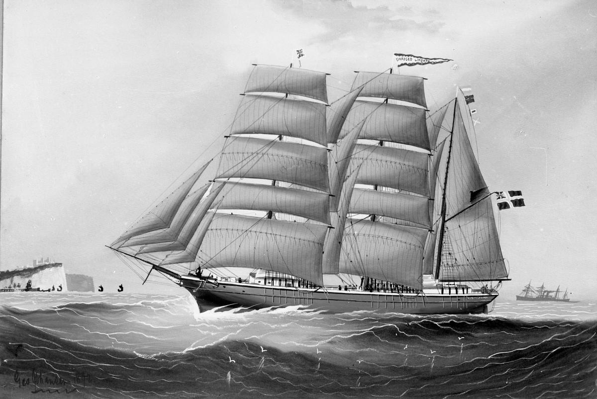 """Avfotografert maleri av barken """"Byfoged Lindahl"""" ved en ukjent kyst. """"Byfoged Lindahl"""" har deltatt i utenlandsfart."""