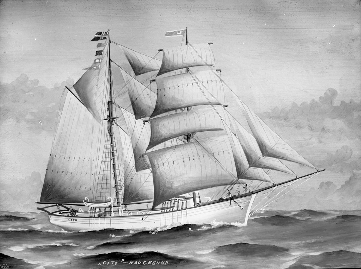 """Avfotografert maleri av galeasen """"Cito"""" i åpent farvann."""