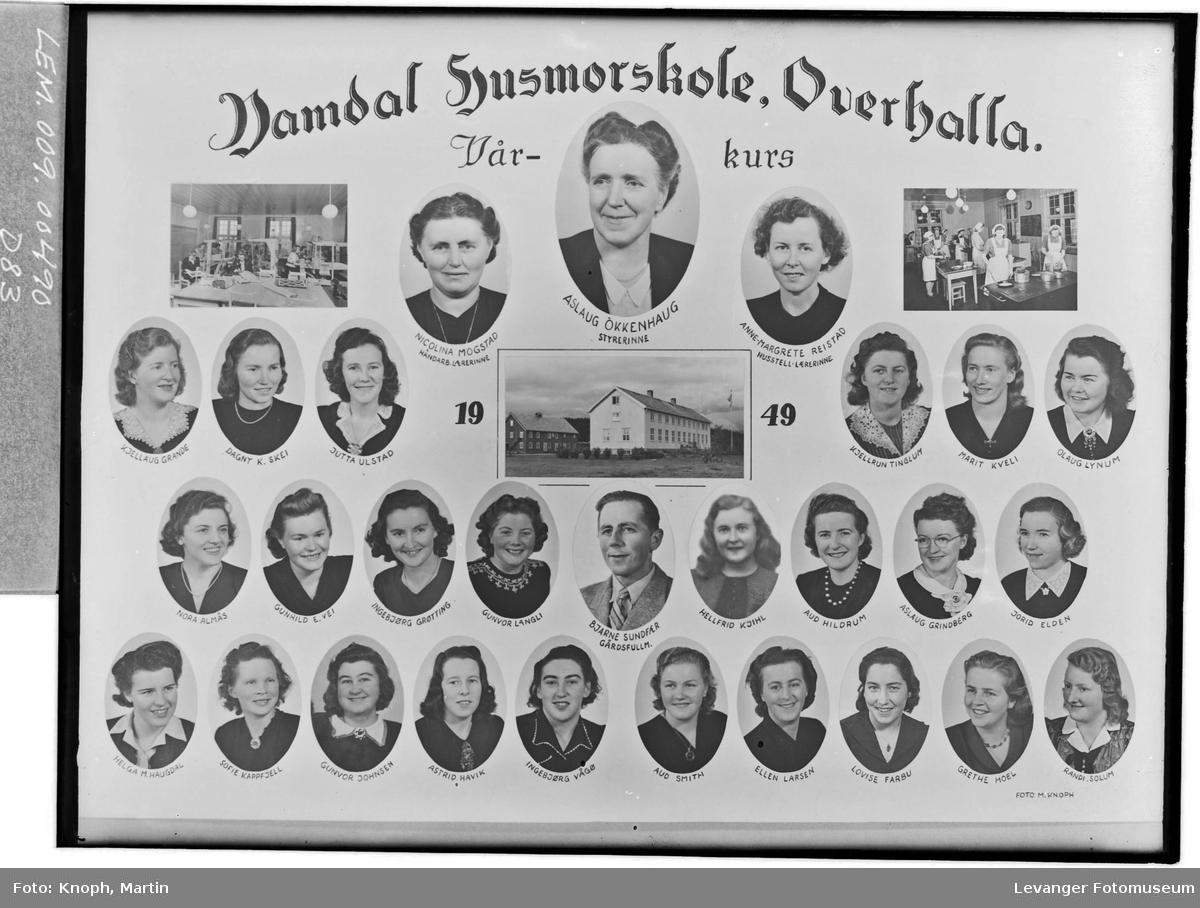 Namdal Husmorskole, Overhalla. Vårkurs, 1949.