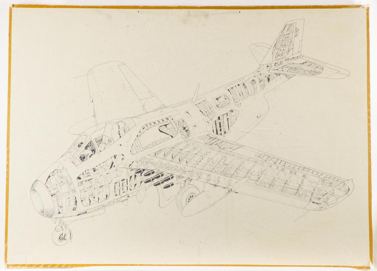 Undervisningsplansch som visar uppbyggnaden av flygplankropp till flygplan 29.