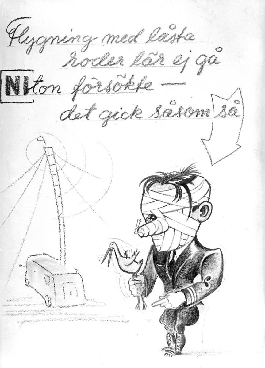 Karikatyrbild av militär ur flygvapnet, 1930-tal.  Märkt 'NI'.   Avfotograferad teckning.