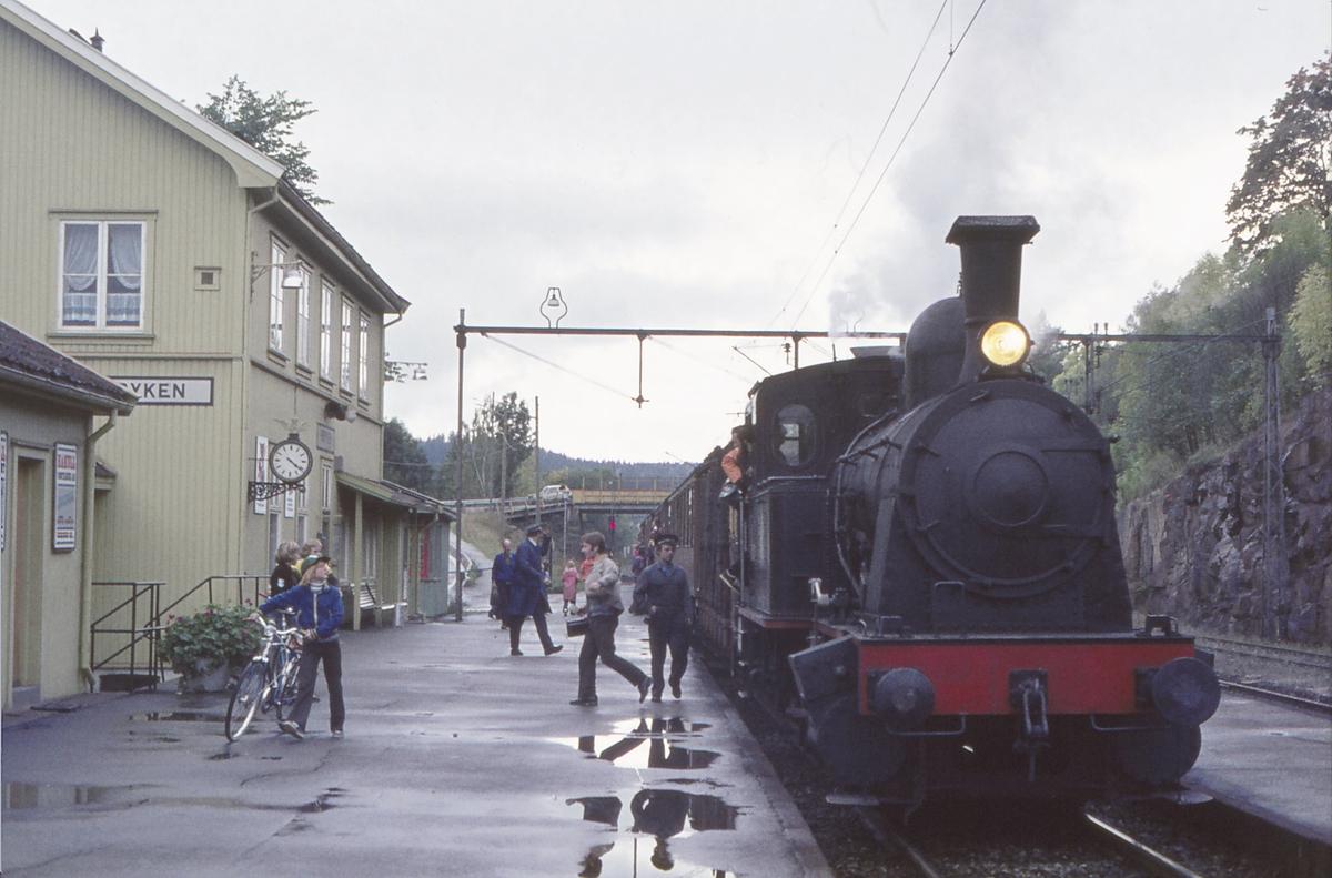 Ekstratog for Norsk Jernbaneklubb med damplokomotiv Norsk Hydro M2 på vei fra Lier mot Asker. Røyken stasjon.