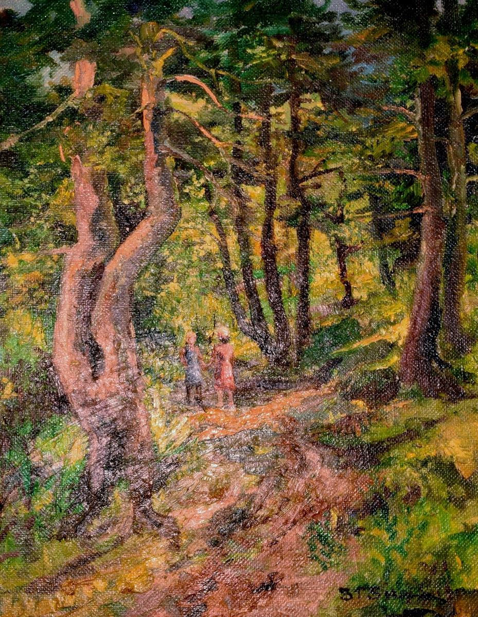 Maleri av en bred sti gjennom en furuskog. På stien står to barn i sommerklær og holder hverandre i hendene.