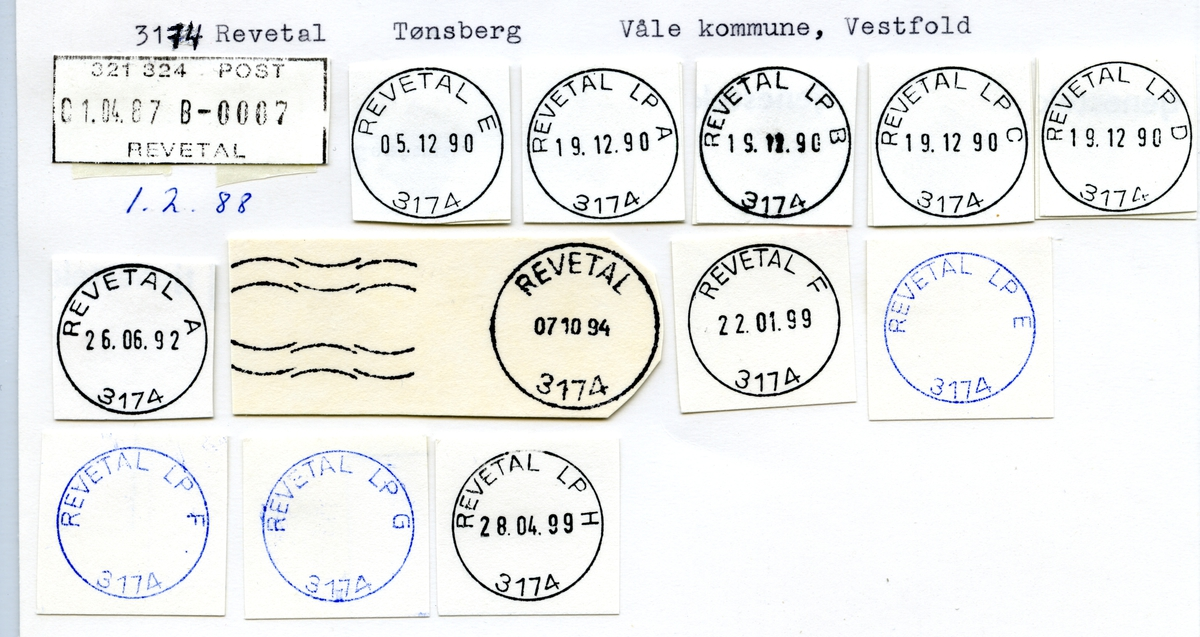 Stempelkatalog 3112 Revatal (Rævatal), Tønsberg, Våle, Vestfold