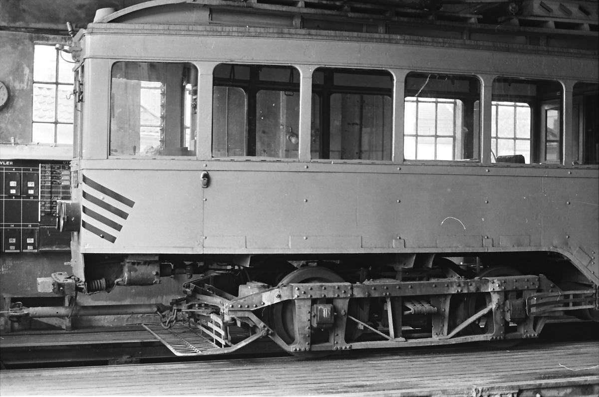 Ekebergbanen, Oslo Sporveier. Arbeidsvogn 399. Opprinnelig vogn 1007 fra 1920. Ombygget til arbeidsvogn 1970.