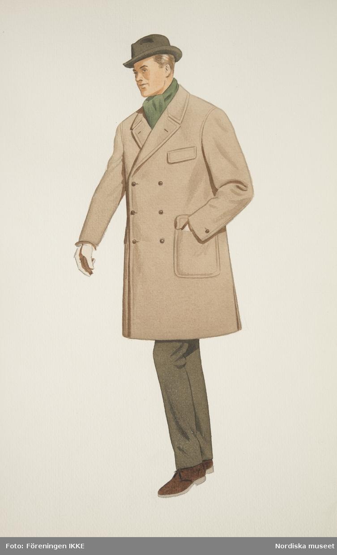 Modeteckning av man i beige, dubbelknäppt rock, brun homburghatt, grön halsduk, bruna byxor och bruna mockaskor. Nordiska Kompaniets engelska herrskrädderi.