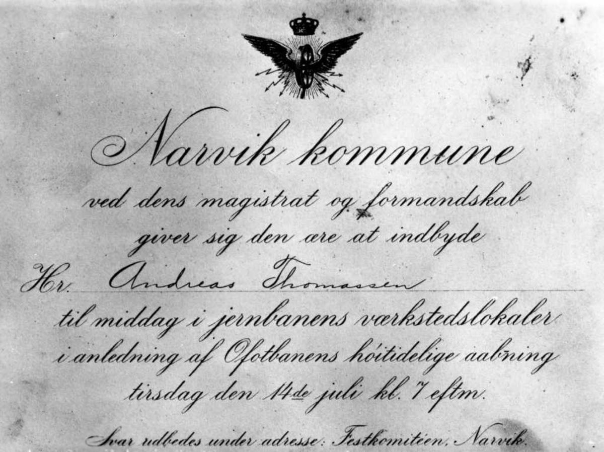 Narvik kommunes innbydelse til middag, 14. juli 1903