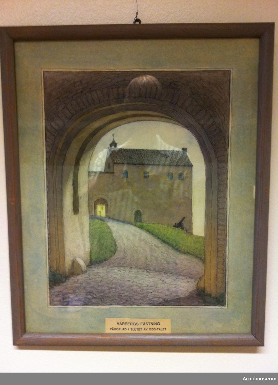 Grupp M I.    Akvarell föreställande Varbergs fästning.