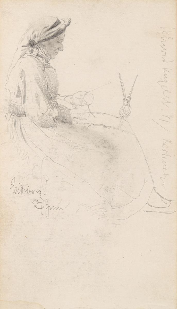 Kvinne som nøster garn, Eidsborg [Tegning]