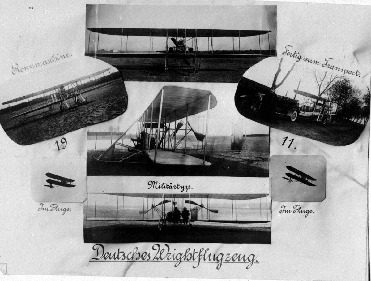 Fotomontasje. Flere Wrightfly i forskjellige miljø.