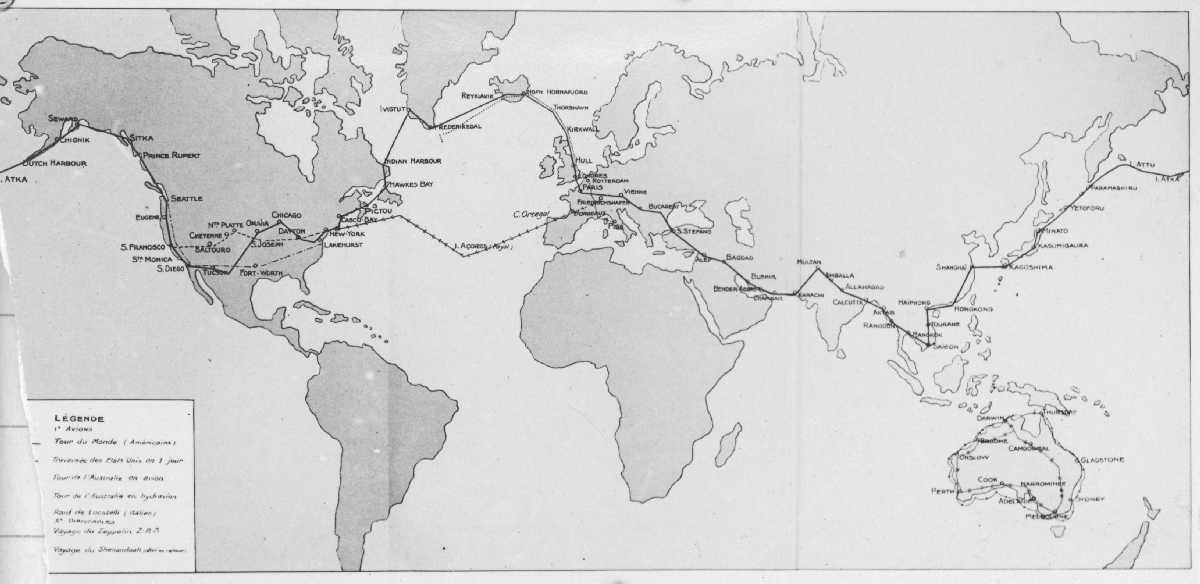 Kart med inntegnede ruter for flyving.