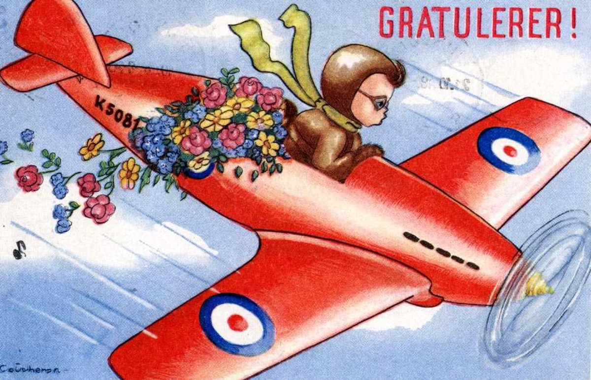 Prospektkort. Ett fly i luften med en pilot. Bak piltoen ligger det noen blomster som detter av flyet etterhvert.