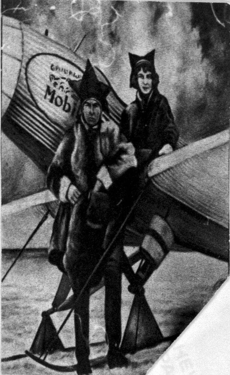 Tegning med samisk motiv. To personer, en kvinne og en mann.