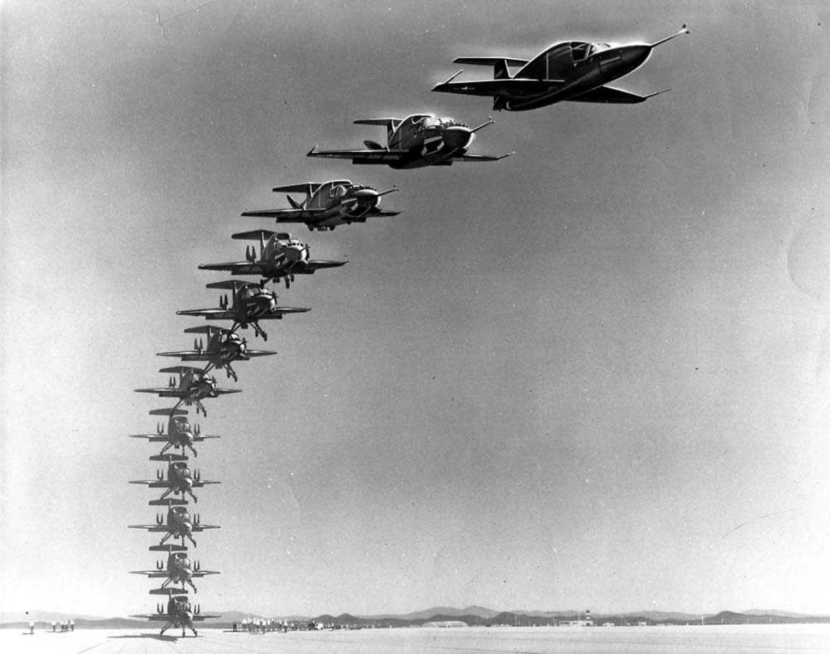 Sekvens av tolv fly som illustrerer hvordan Ryan 143 XV-5A tar av fra bakken, til det er i horisontal flyving.