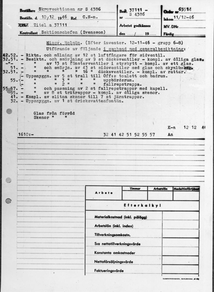 Övrigt: Besiktningspapper på Minsveparen Holmön