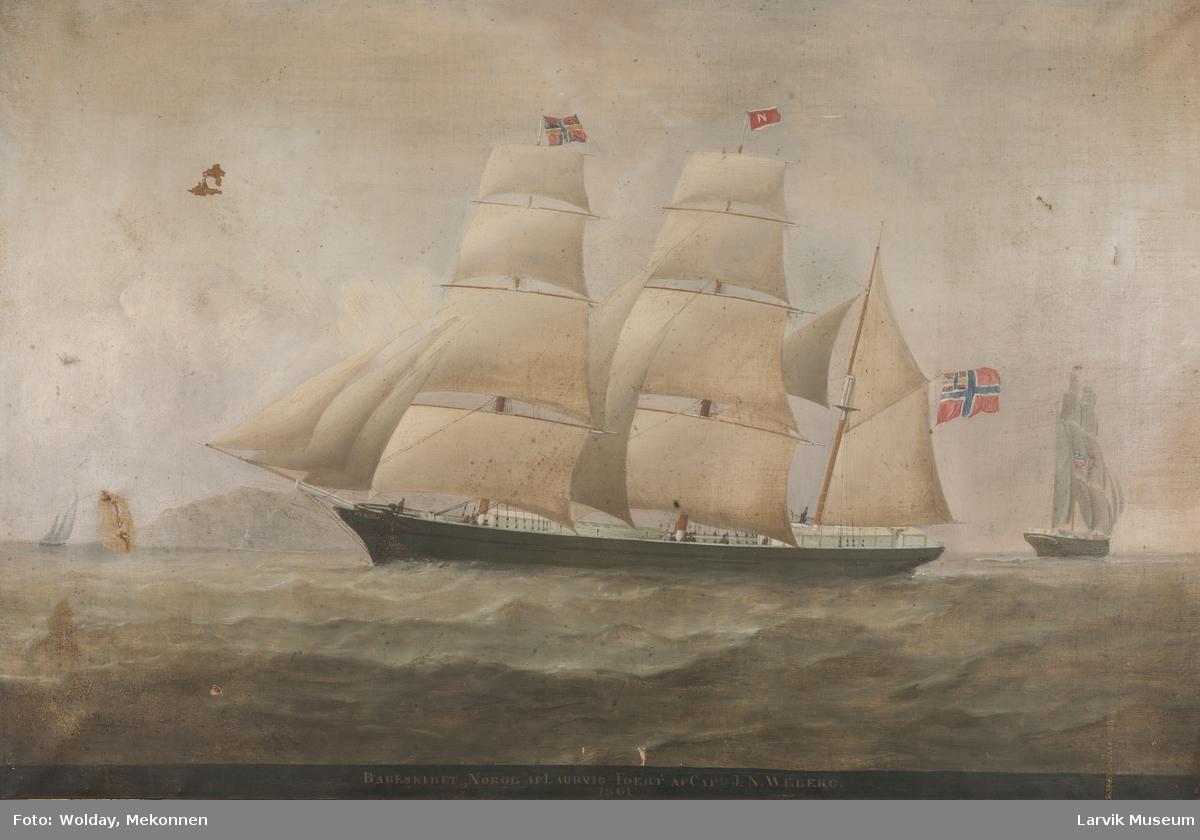 """Barken """"Norge"""" av Laurvig. Skip"""