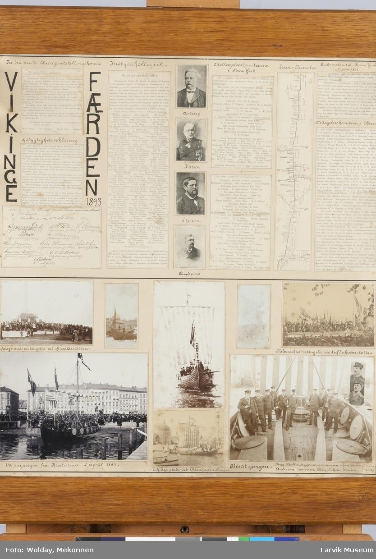 """Kollage av bilder og tekst relatert til """"Vikingefærden 1893"""""""
