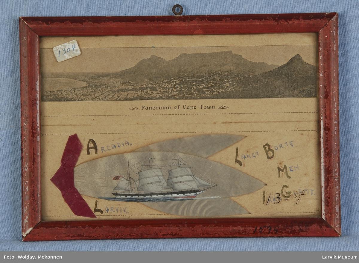 """Jernbark """"Arcadia"""" av Larvik - fra Cape Town ca. 1905 malt på et såkalt sølvblad, silverleaf eller Kapp-blad. Tre slike samlet, med panorama over Cape Town over"""
