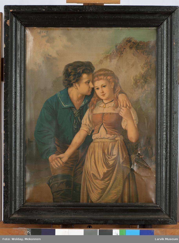 Fargelagt bilde av mann i sjømannsdrakt sammen med ung kvinne.