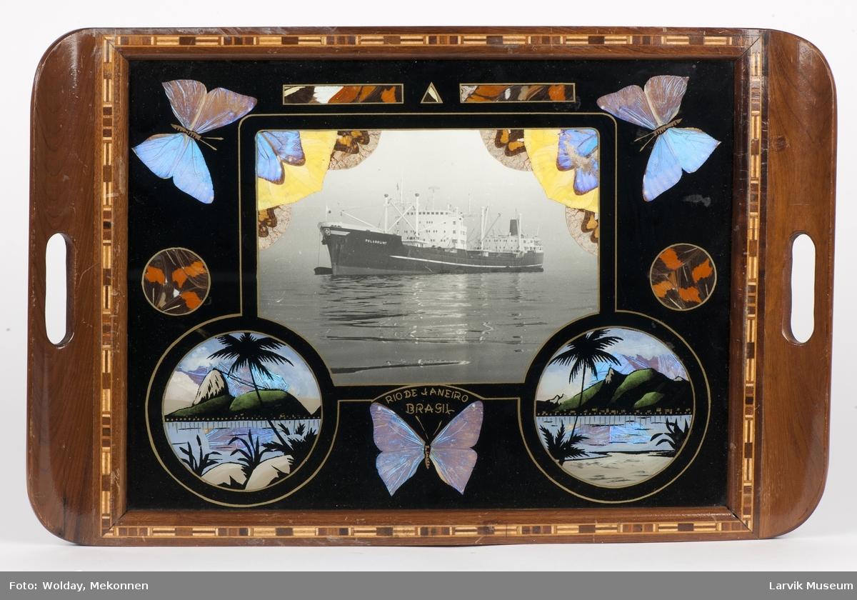 """Brett med treramme og glass. Plate dekorert med sommerfugler og foto av """"Polarglimt""""."""