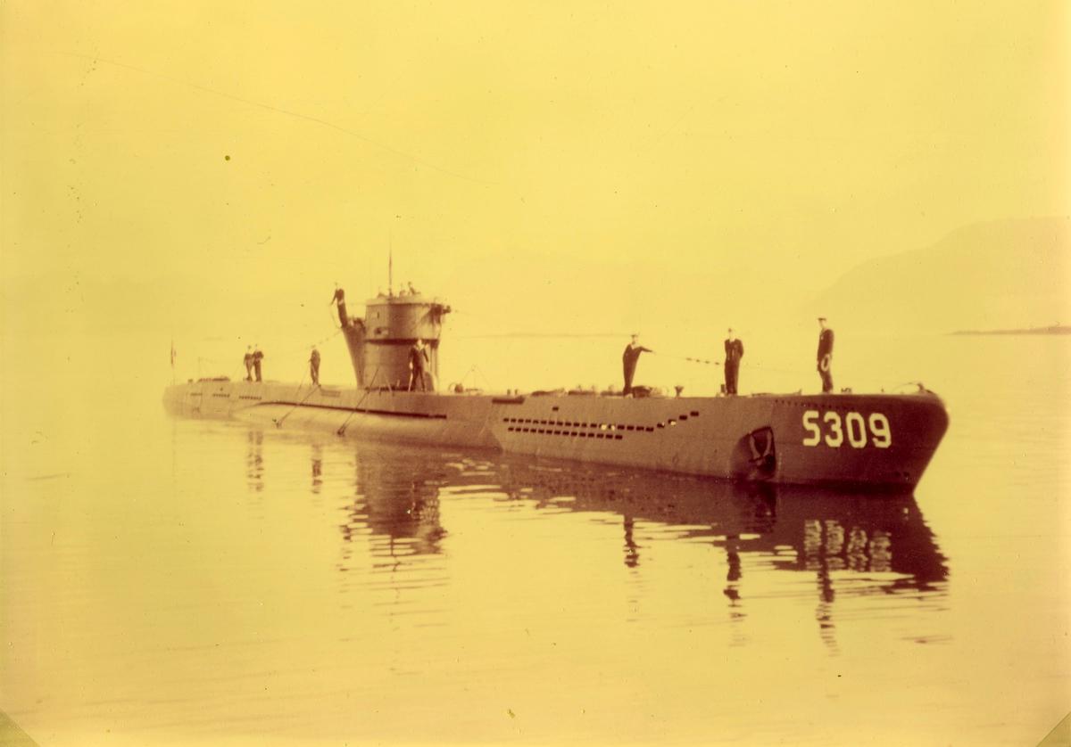"""Motiv: Foto undervannsbåten S309 KNM """"Kaura"""" som tilhører """"Kobben"""" klasse undervannsbåter. I Ramsund 1959; skipssjef:Kapteinløyntnant H B Ellingsen"""