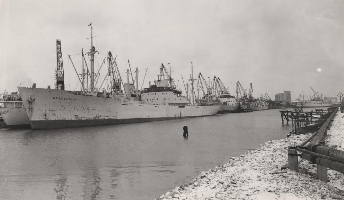 Fartyg liggande i Malmö hamn den 5.2.1953 Från höger: M/S FALKEN, M/S VASALAND, M/S BOREN, M/S LOMMAREN, M/S SPARREHOLM, M/S STEGEHOLM.