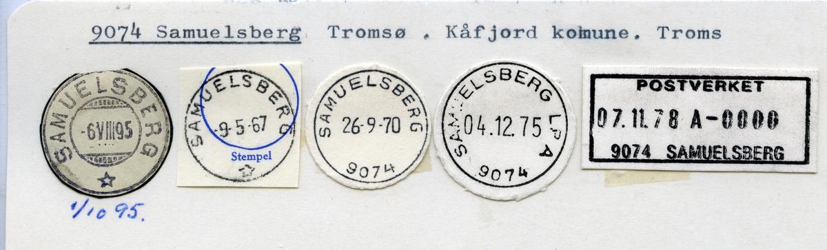 Stempelkatalog  9074 Samuelsberg, Kåfjord kommune, Troms