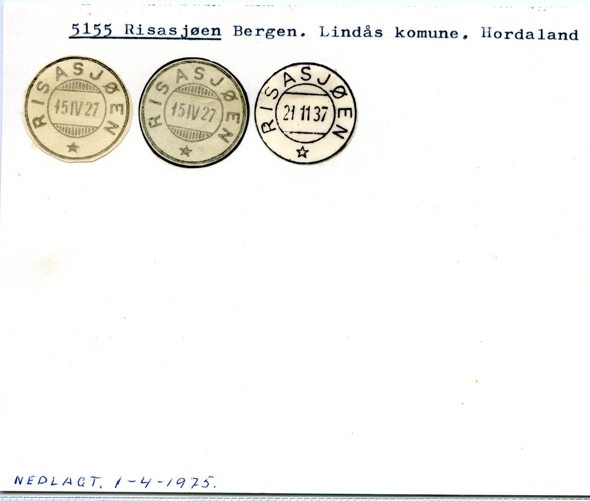 Stempelkatalog 5155 Risasjøen, Bergen, Lindås, Hordaland