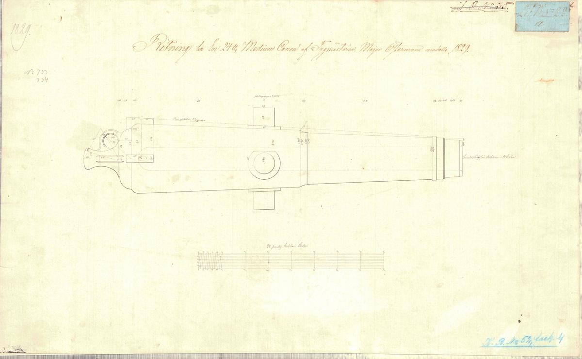 Ritning till en 24 pundig medium kanon av tygmästaren  major Östermans modell 1829