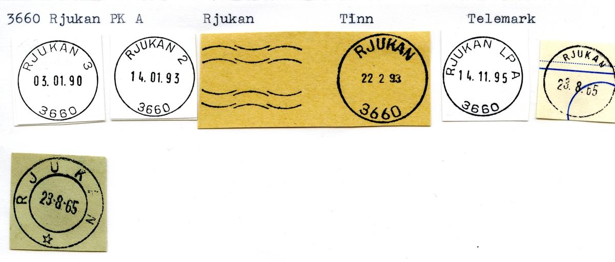 Stempelkatalog 3660 Rjukan (Feltpostkontor no 18, Saaem), Tinn, Telemark