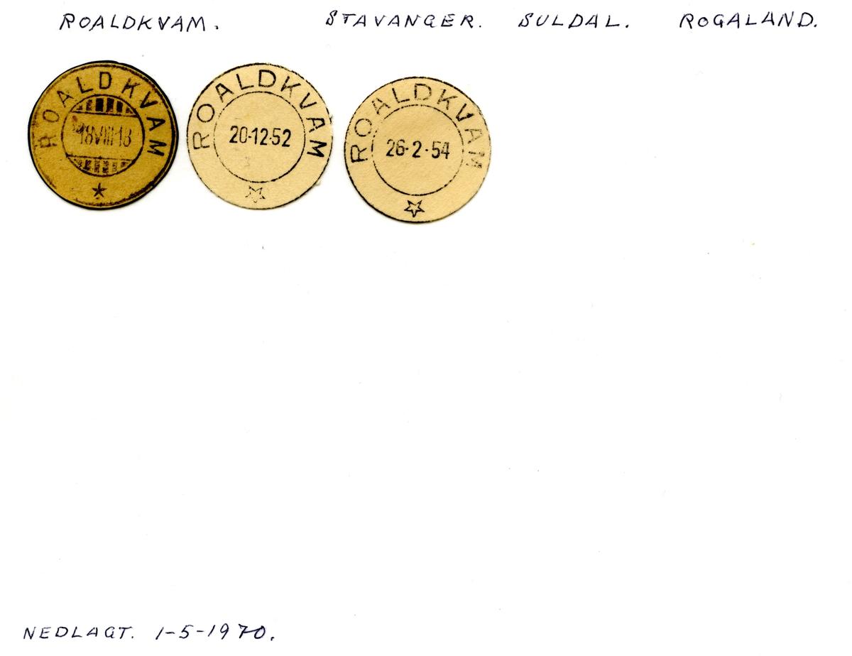 Stempelkatalog Roaldkvam, Stavanger, Suldal, Rogaland