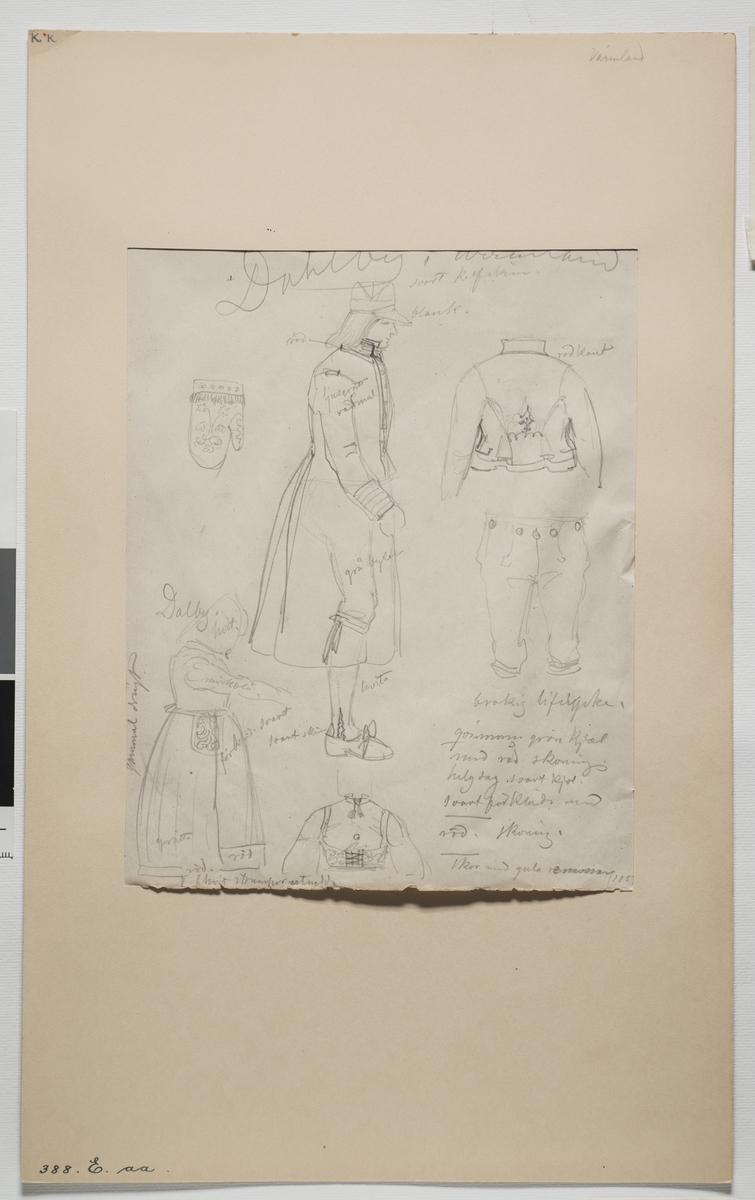 """""""Värmland, Dahlby""""  Blyertsskiss av  J.V. Wallander  . En man och en kvinna , i profil, samt  dräktdetaljer med beskrivande texter av jacka, liv, vante etc."""