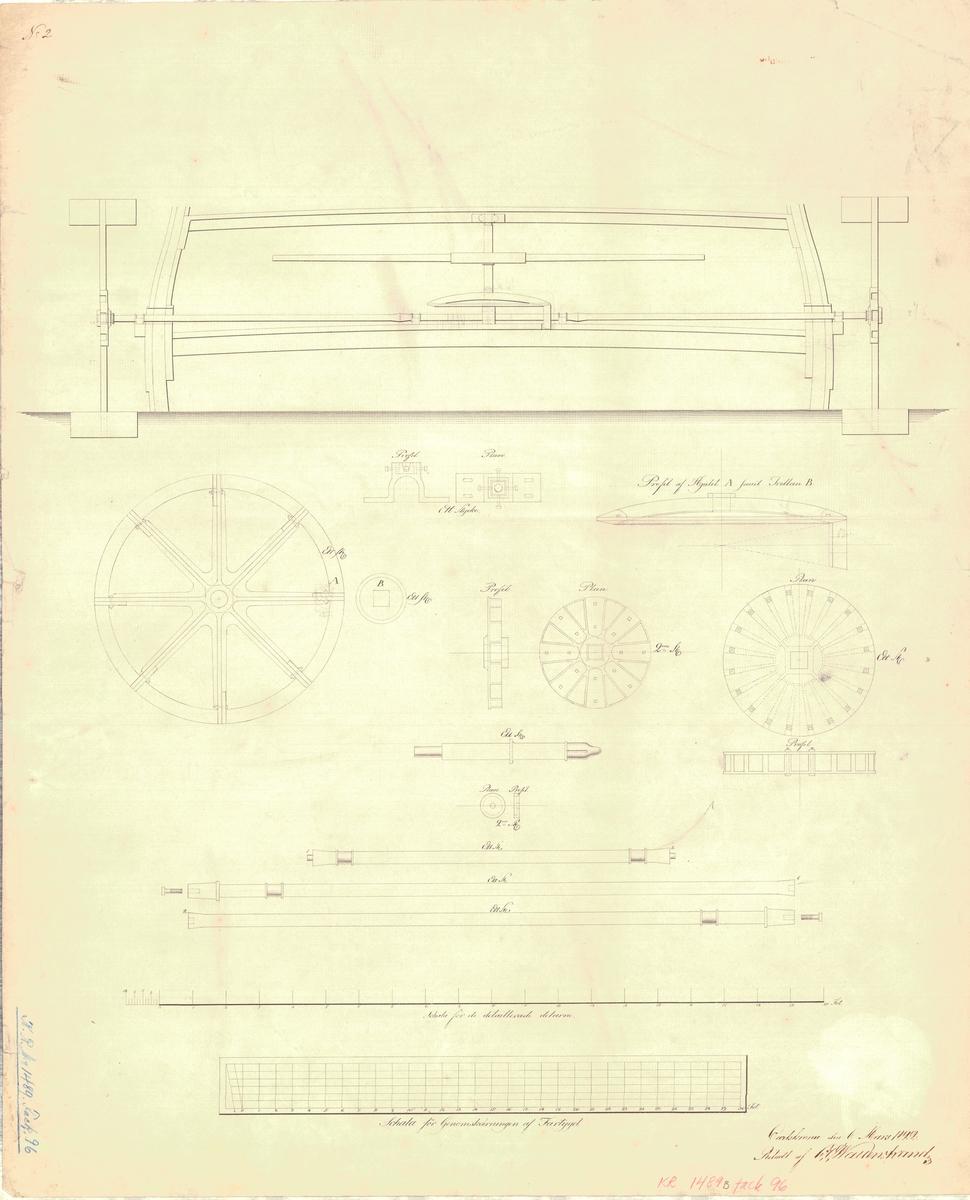 Kanonslupen Panthern roddmaskin i form av skovlar Detaljritningar av roddmaskin