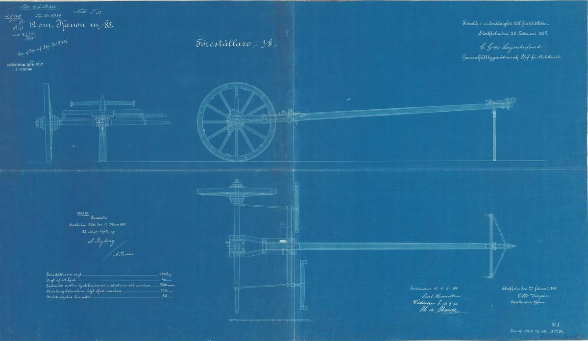 Lavettage och hjul till 12 cm kanon m/85
