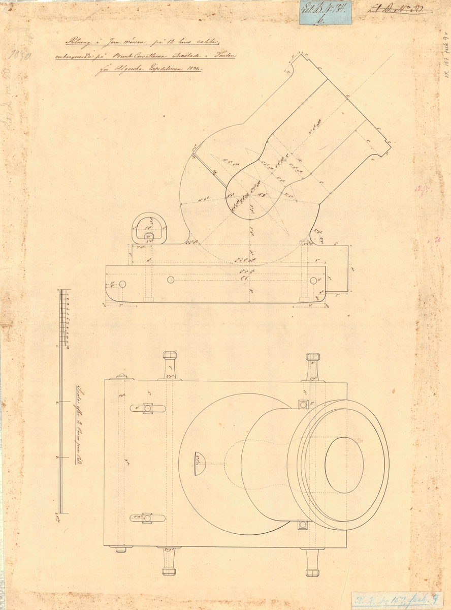 Ritning å järnmörsare på 12 tums kaliber, embarkerade på bombkorvetter utrustade i Toulom för algeriska expeditionen, 1830