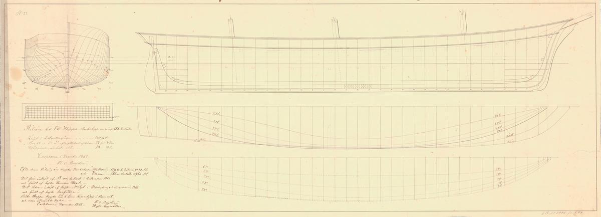 Klipper-barkskepp om 158 svåra läster. Sammanställningsritning