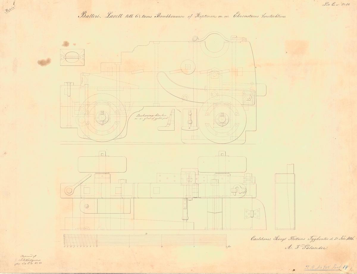 Batterilavett till 6 ½ tums bombkanoner  av kaptenen m.m. Ehrenstams konstruktion