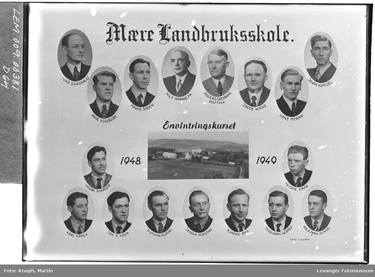 Mære Landbruksskole. Envintringskurs, 1948-49.