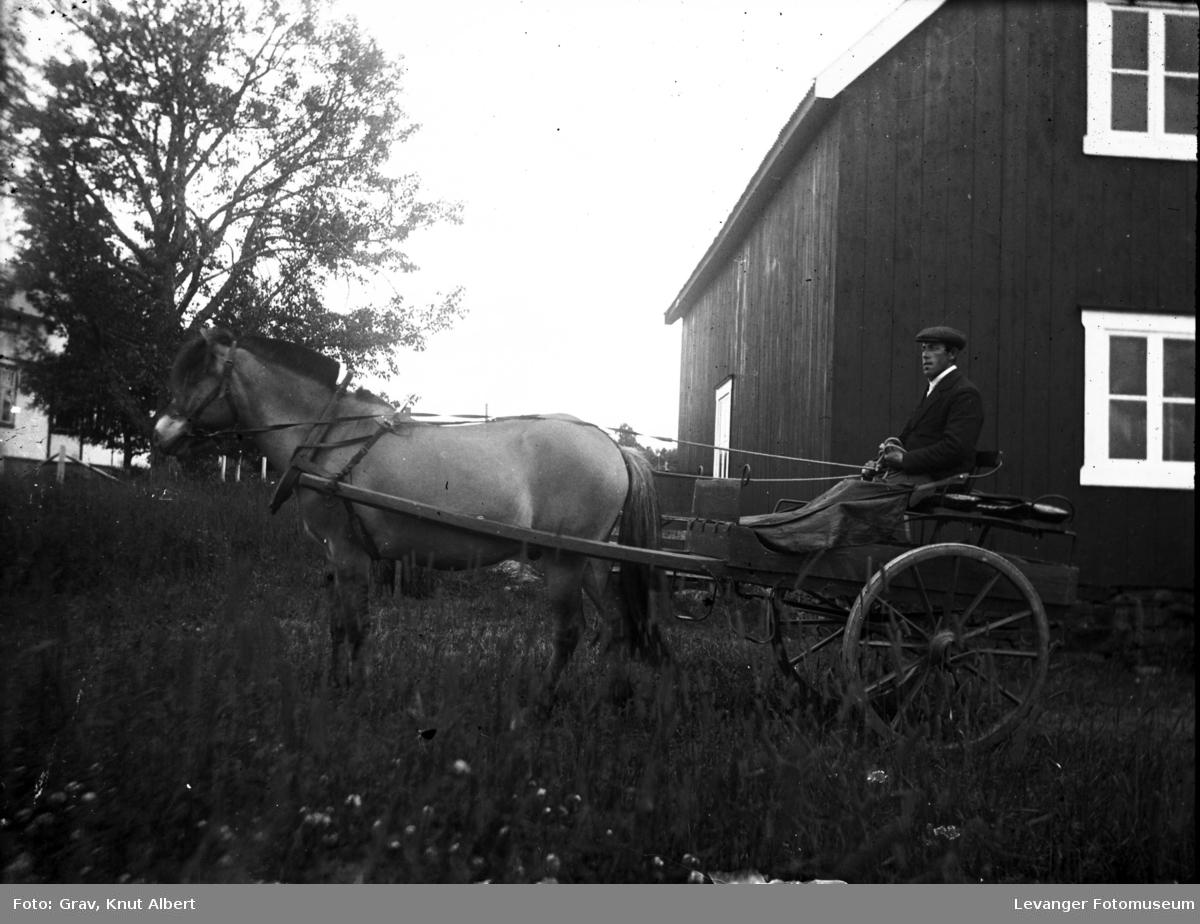 Mann med hest og kariol ved uthus.