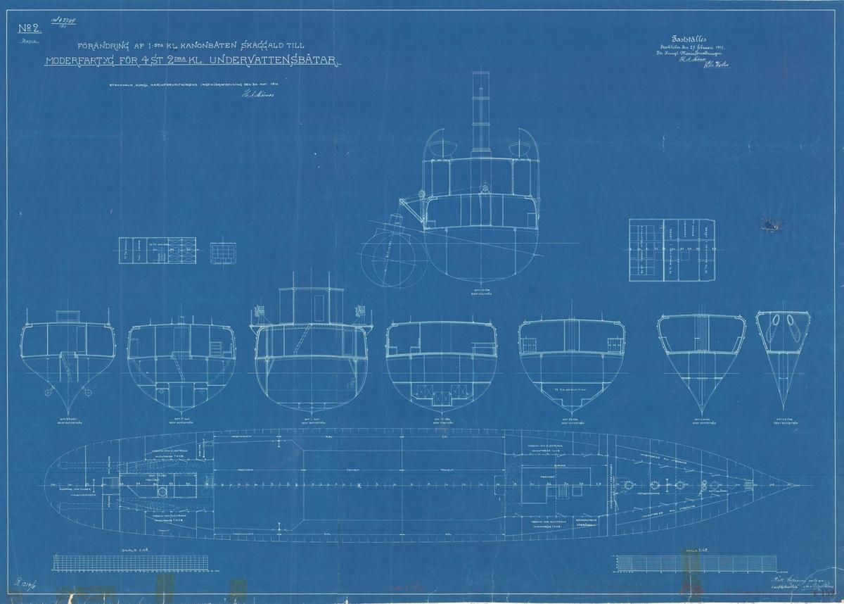 Förändring av 1a klass kanonbåt till moderfartyg för ubåtar. Sammanställningsritning