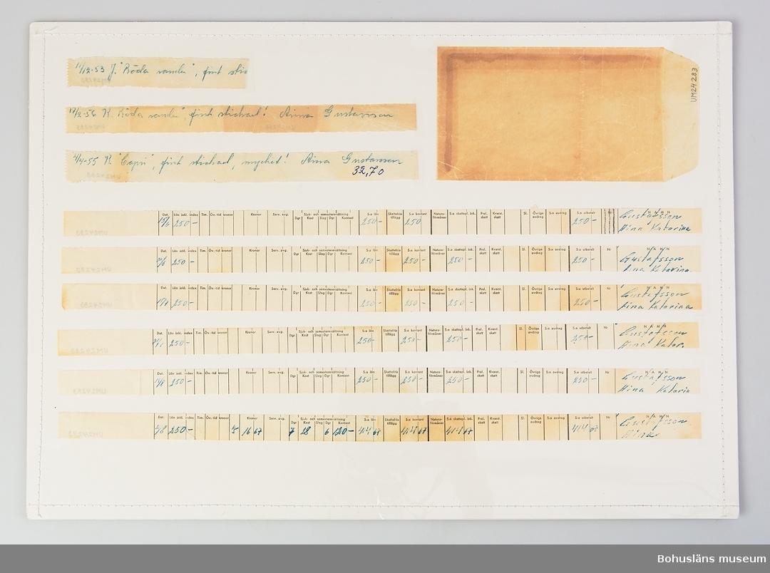 """Utskrivet av företaget Bohus Stickning. 6 st lönekvitton (L 38 cm och b 1,1 cm) och 3 betyg (L 21, B 1,9 cm) Det ena betyget är från 1955, ett annat är från 1956 (det är i två delar), ett är från 1953 (sista hälften fattas). Betyg fick stickerskan för varje stickat plagg. Ex: """"4/4-55 K(?),  """"Capri"""", fint stickad, mycket! Aina Gustavsson 32.70  Aina Gustafsson stickade för """"Bohus Stickning"""" ca 1950 - 1956. Hon arbetade också vid telefon Resö. På Resö var det ca 4 - 5 personer som stickade till """"Bohus Stickning"""".  Litteratur: """"Bohus Stickning - 1939 - 1969"""" av Ulla Häglund i samarbete med Ingrid Mesterton, Göteborg 1980."""